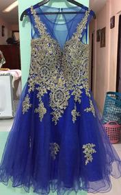 Vestido De Noche Corto Color Azul Rey