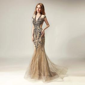 1766d3596 Vestido De Noche Gala Pedreria Con Escote V De Lujo