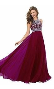 Vestido De Noche Hermoso Con Detalle De Pedreria Color Vino