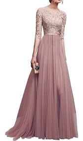 Vestido De Noche Largo De Encaje Color Sólido S 5xl