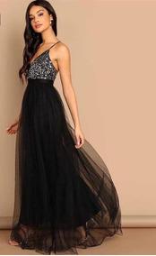 Vestido De Noche Largo Negroplata