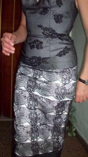 vestido de noche modelo exclusivo c/bordados a mano