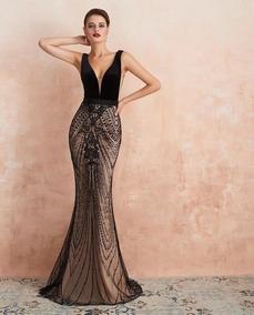 Vestido De Noche Negro Corte Sirena Encaje Y Lentejuela