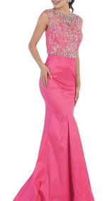 Vestido De Noche Rosa Mexicano Con Pedreria