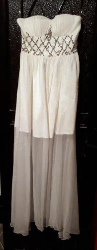 vestido de noche strapless color blanco