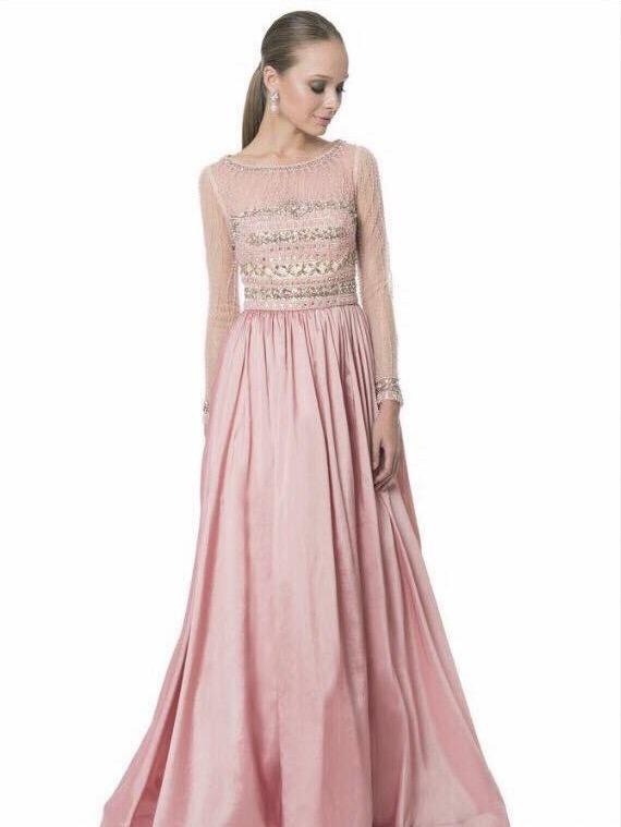 Vestidos de noche color rosa palo