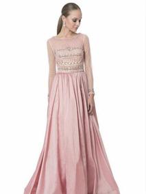 Vestido De Noche Terani Couture Rosa Palo Pedrería