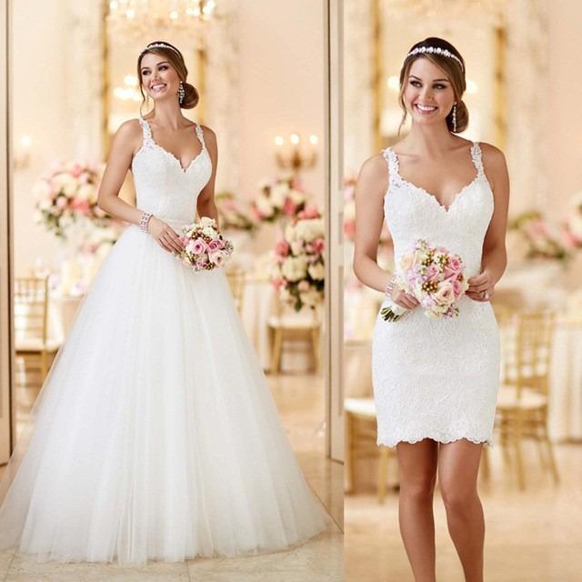 a837e073f0 Vestido De Noiva 2 Em 1 Civil Festa Casamento Lindo  fli-37  - R ...