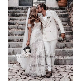 Vestido De Noiva Casamento Boho Sereia Sexy Longo Praia