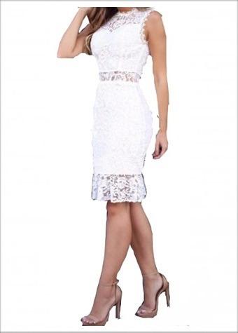 Vestido De Noiva Civil Casamento Renda Midi Curto