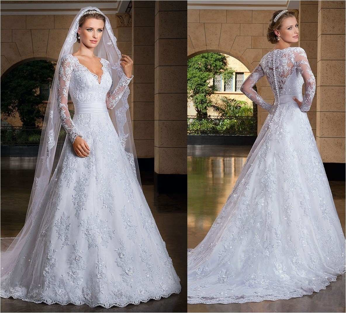 Vestido De Noiva Com Véu Longo Lindo Casamento 'fli-30