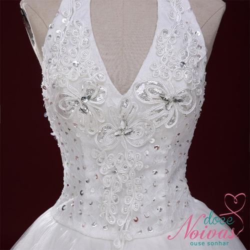 vestido de noiva debutante frente única off white