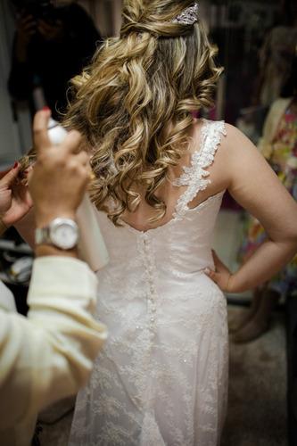 vestido de noiva em renda bordado