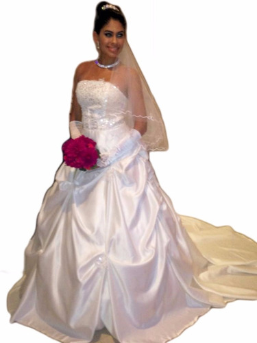 vestido de noiva lindo com cauda + luva de brinde
