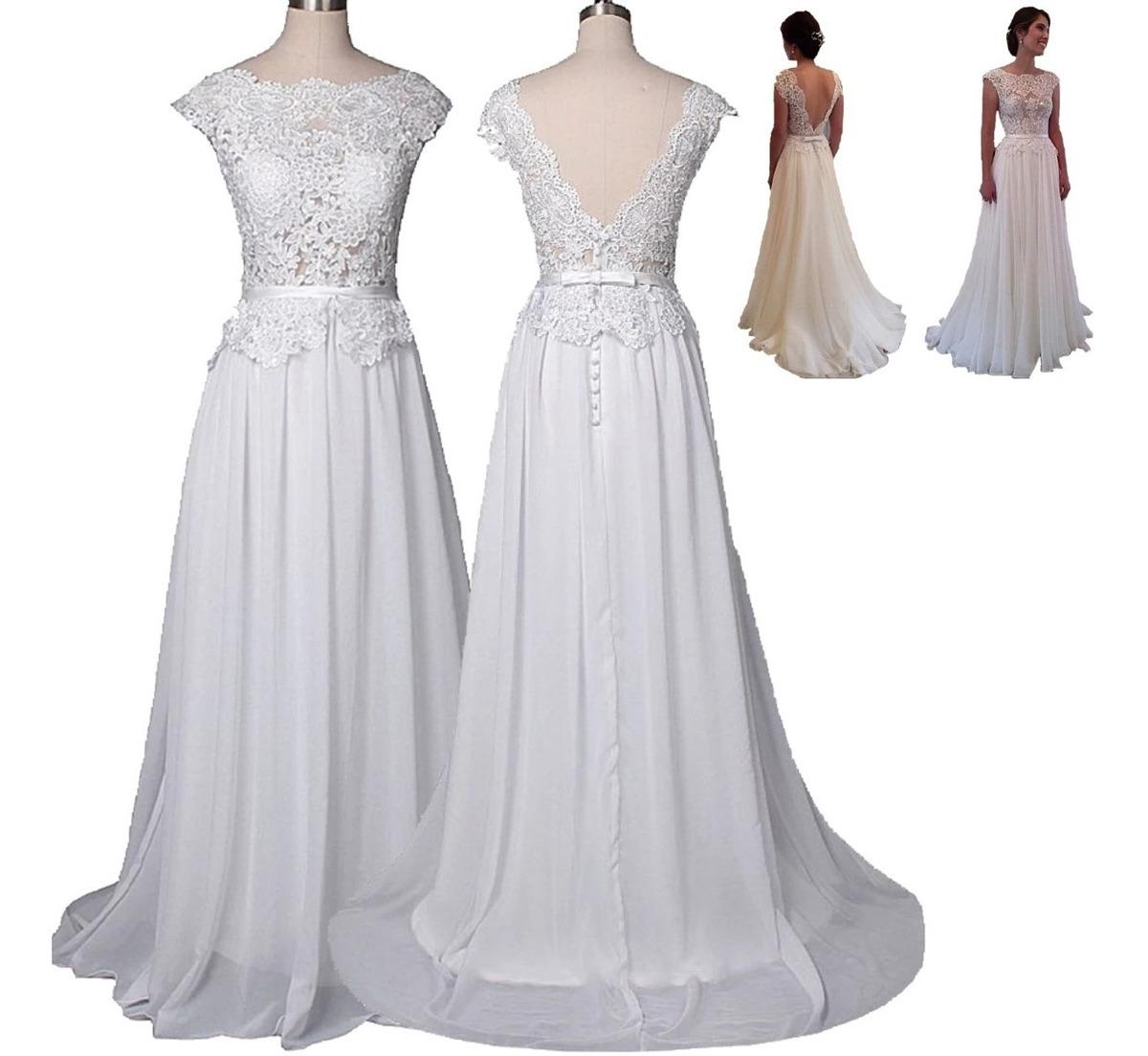 Vestido De Noiva Longo Simples Casamento Barato Pronta Entre