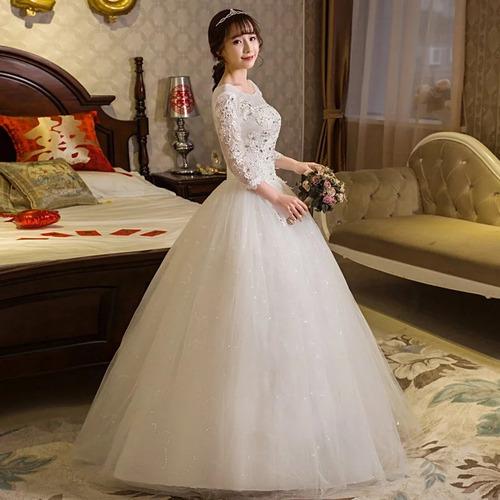 vestido de noiva princesa manga média