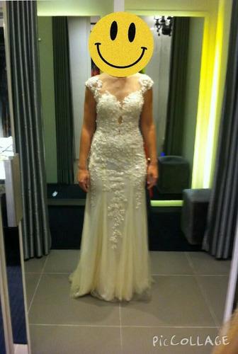 vestido de noiva renda com pérolas comprido costas casamento
