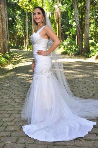 vestido de noiva sereia com cauda + brinde