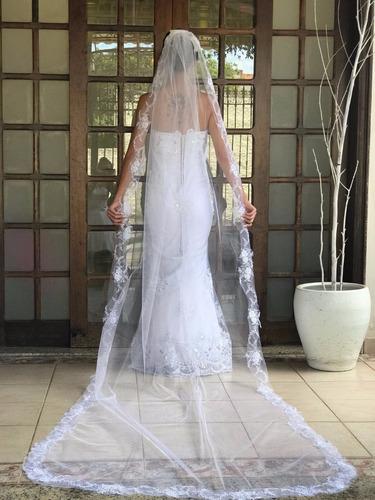 vestido de noiva sereia com renda bordada luxo + brinde