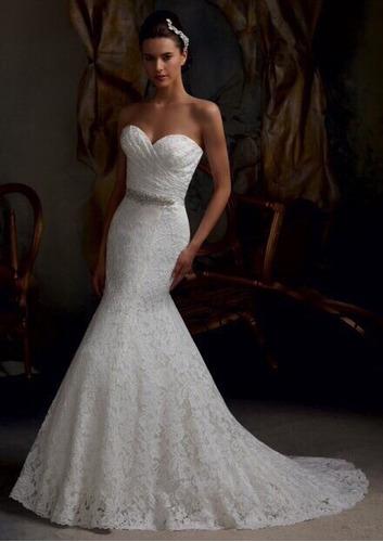 vestido de noiva sereia  renda francês!cinto e frete gratis
