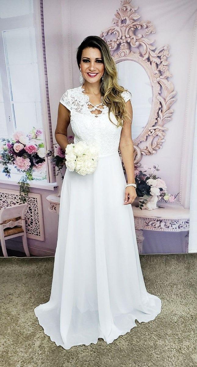 Vestido De Noiva Simples Casamento Civil Praia Campo