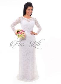 a7c36549d590 Vestido Branco Renda Longo Civil - Vestidos Femeninos Longo com o ...