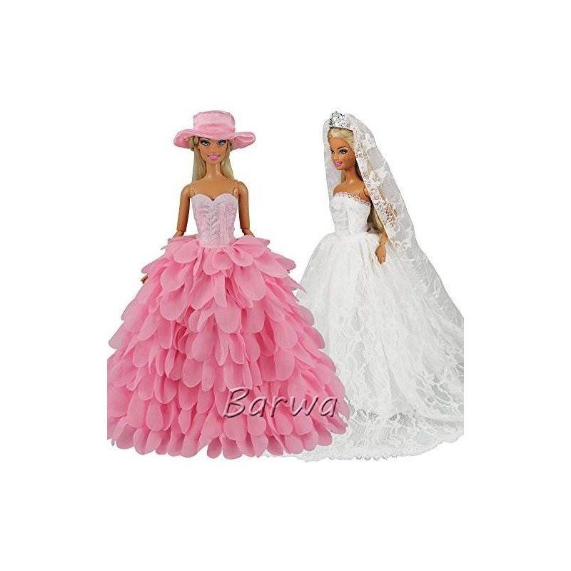 Vestido De Novia Blanco Barwa Con Velo Y Rosa Princesa Eveni ...