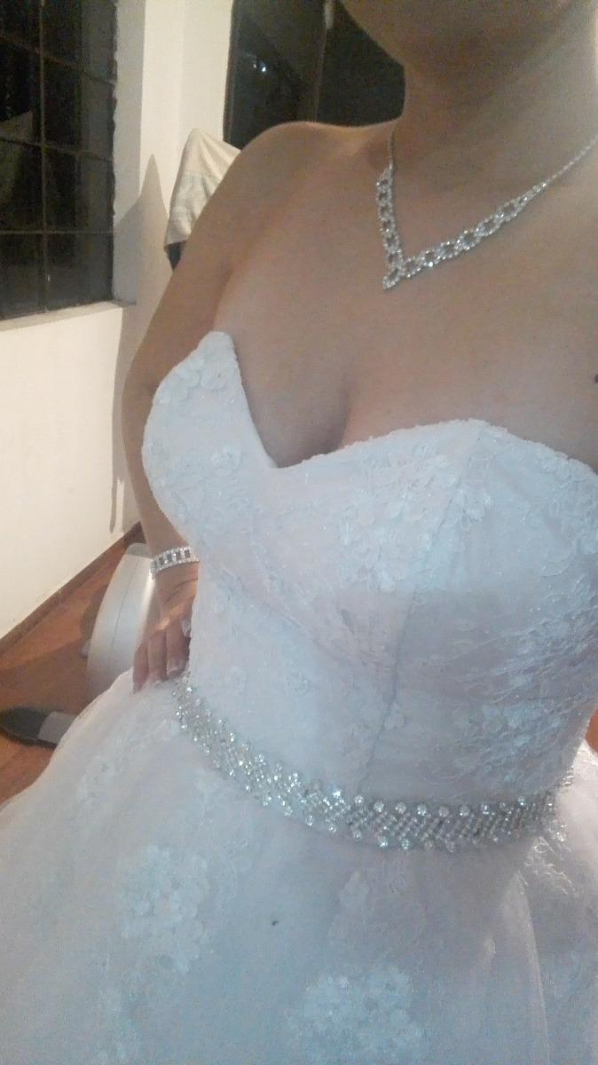 Vestido De Novia Blanco Corte Princesa Copa B Con Accesorios ...