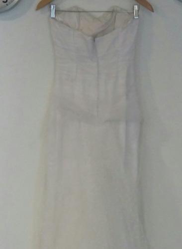 vestido de novia blanco forrado con tul tallle s