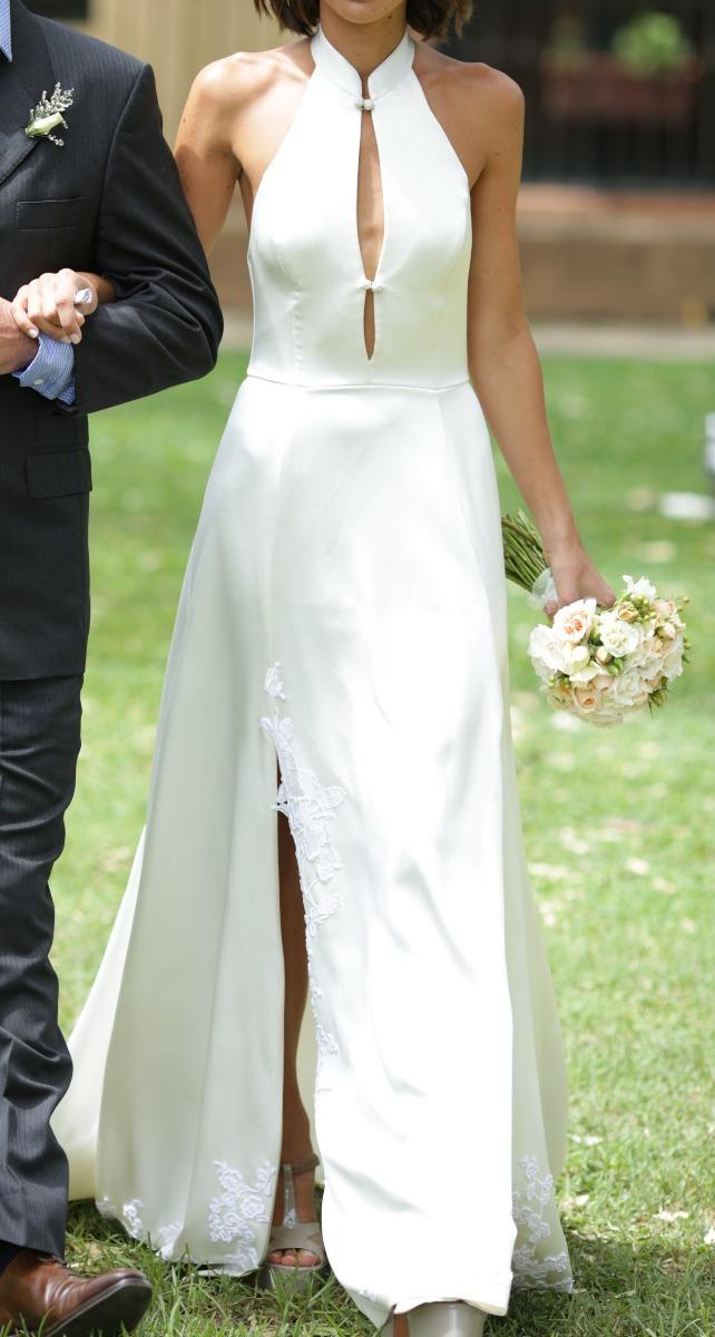 vestido de novia blanco largo casamiento fiesta hecho a mano