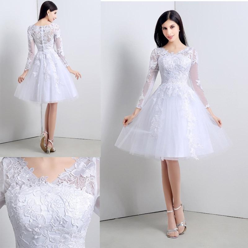 vestido de novia boda civil corto tul encaje elegante mangas