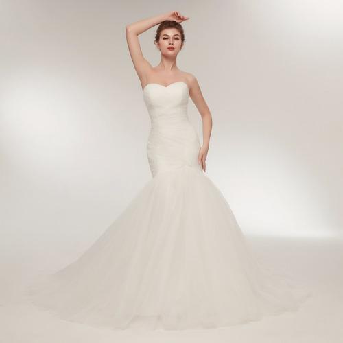 vestido de novia cola de sirena ajustable liso envio gratis