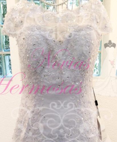 vestido de novia color blanco con cola oferta barato