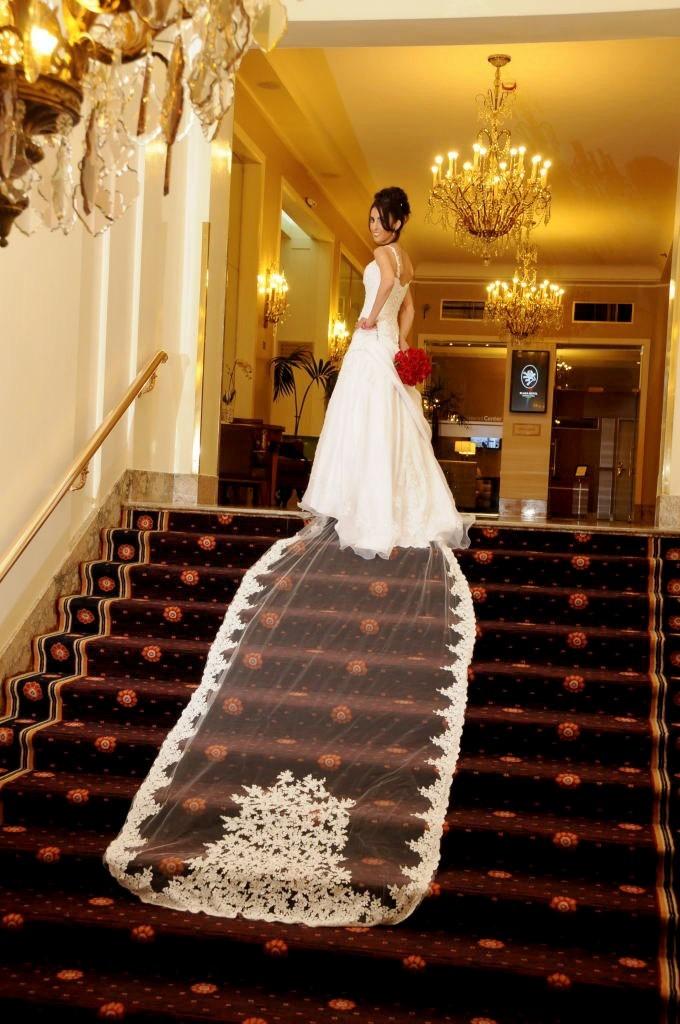 vestido de novia con cola de 3 metros, corte princesa - $ 13.000,00