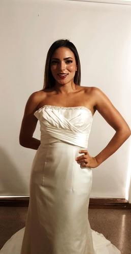 vestido de novia con cola y velo estrapless 1 uso diseñador