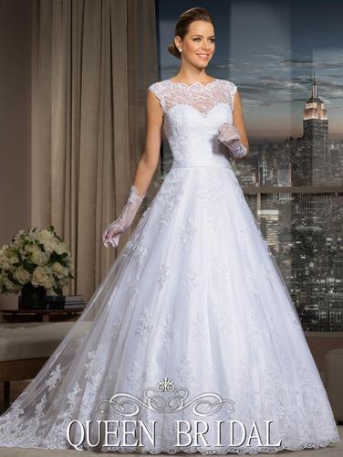 vestido de novia corte princesa y encaje por pedido