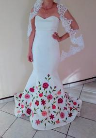 Vestido De Novia Diseño Mexicano Bordado A Mano