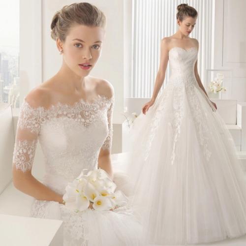 vestido de novia encaje con bolero 2 piezas