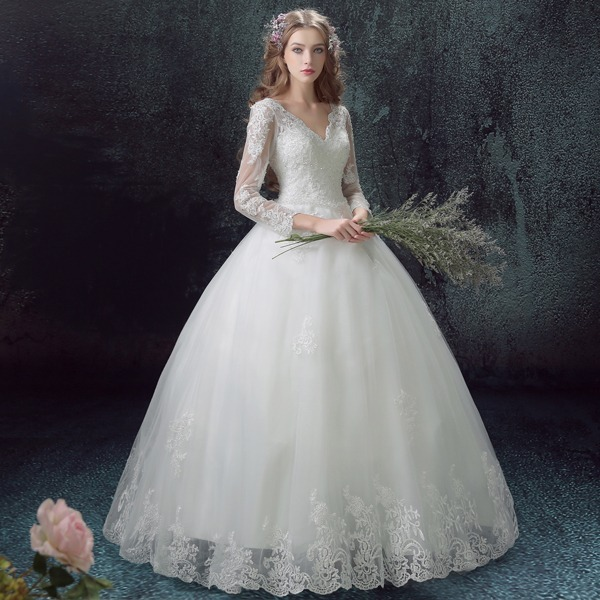vestido de novia hermoso cuello v corset fino corte a manga