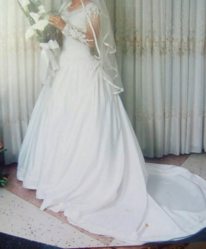 vestido de novia importado con velo corona boda perla blonda - bs. 1