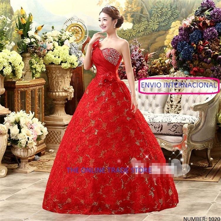 vestido de novia importado modelo princesa color rojo-nuevo - s/ 350