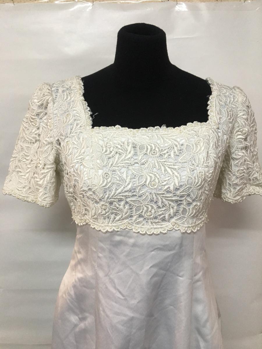 Vestido De Novia Largo Con Guipure Y Raso Blanco De Seda - $ 1.600 ...