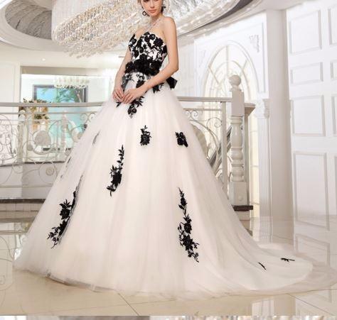 Vestidos de novia con negro y blanco