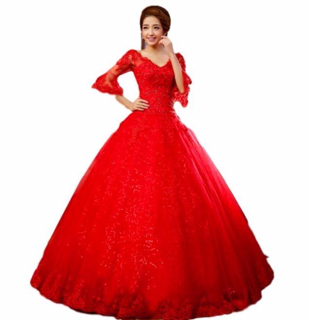 Vestido De Novia Nuevo 2017 Rojo Manga(directo China)#x0410 ...