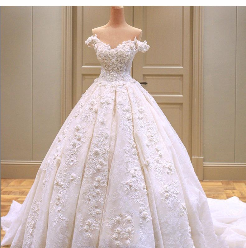 Vestido De Novia Nuevo 2018 C/cola Blanc(directo China)#7337 ...