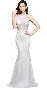 Vestido De Novia Perlas Delicado Fino Elegante Corte Sirena