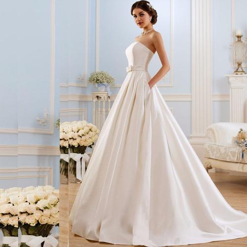 vestido de novia princesa nuevo marfil o blanco con bolsillo
