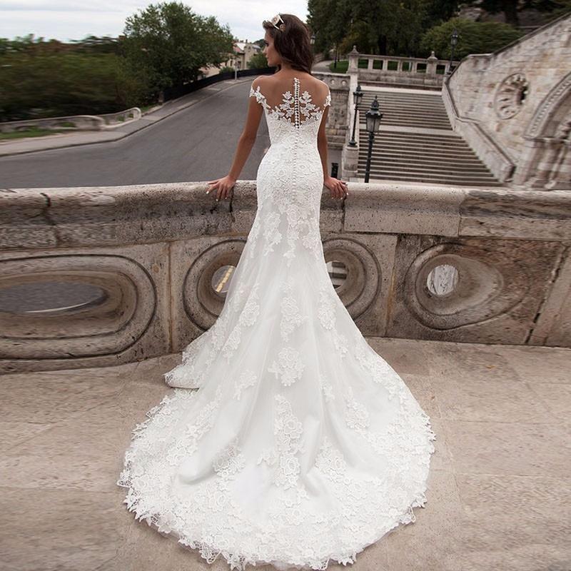 vestido de novia, romántico, corte sirena, gasa bordada