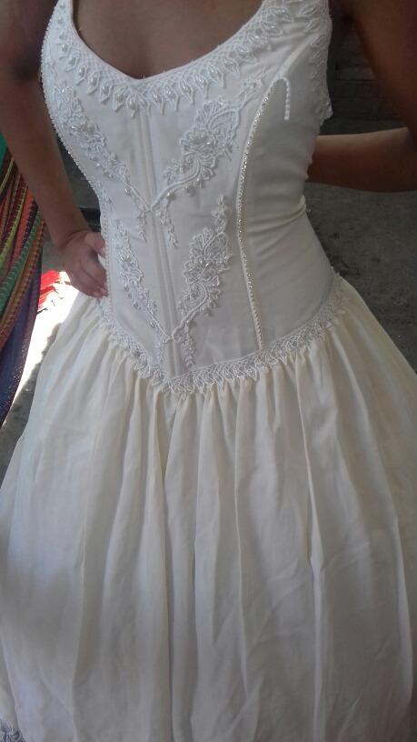 vestido de novia semi nuevo cola 1 metro impecable diamante