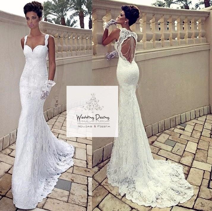 vestido de novia sirena de encaje y espalda descubierta - $ 6.900,00
